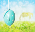 Easter egg sky and silhouette of grazing horse blue hanging on background grass Royalty Free Stock Images