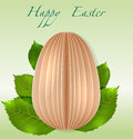 Easter egg on spring leaves vector paper background Royalty Free Stock Images