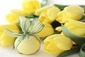 Easter egg and tulips Royalty Free Stock Images