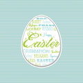 Easter egg typographical background with design on blue card Royalty Free Stock Images