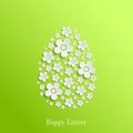 Easter egg of white flowers abstract vector on green background valentines day card Royalty Free Stock Photos