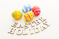 Easter egg with wooden text Stock Images