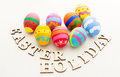 Easter egg and wooden text close up Royalty Free Stock Photography