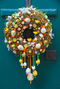 Easter egg wreath colorful decorative on door Stock Photography