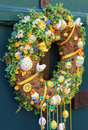 Easter egg wreath on a door Royalty Free Stock Photos