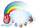 Easter eggs above the clouds illustration of on a white background Royalty Free Stock Photography