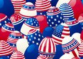 Easter eggs with american flag horizontal vector pattern of many stars and stripes at style of usa Stock Photos