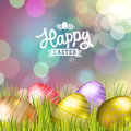 Easter eggs background bokeh with on meadow of purple colors vector eps Stock Photography