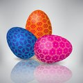 Easter eggs background three colorful isolated Royalty Free Stock Images