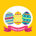 Easter eggs with banner vector illustration Stock Image