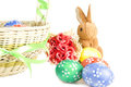 Easter eggs in the basket Stock Photography