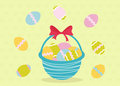 Easter eggs basket Royalty Free Stock Photography