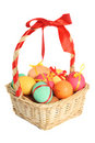 Easter eggs in basket Royalty Free Stock Images