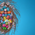 Easter Eggs basket arrangement on blue Royalty Free Stock Photography