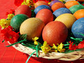 Easter eggs in basket beautiful painted on a colorful background Royalty Free Stock Photo
