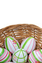 Easter eggs in a basket from bottom Royalty Free Stock Photo