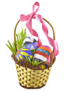 Easter eggs in basket with bow Royalty Free Stock Images
