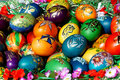 Easter eggs in basket a bunch of beautiful painted Stock Image