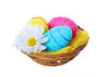 Easter eggs basket chamomile flower isolated white Stock Photos