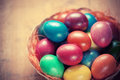 Easter eggs in the basket colorful Royalty Free Stock Images
