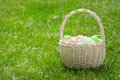 Easter eggs basket on grass