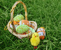 Easter eggs in basket on green grass