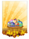 Easter eggs in a basket illustration of the on white background Royalty Free Stock Images