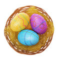 Easter eggs basket isolated white background three glitter colorful eggs Stock Image