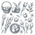 Easter eggs, basket, rabbit, willow and tulips. Vector sketch illustration. Spring holiday design elements set
