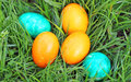 Easter eggs beautiful decorated and hand painted Stock Photo