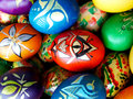 Easter eggs beautiful painted on a colorful background Royalty Free Stock Images