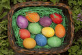 Easter eggs beautiful painted on a colorful background Royalty Free Stock Photos