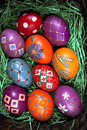 Easter eggs beautifully decorated painted Royalty Free Stock Photography