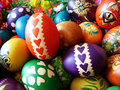 Easter eggs beautifully decorated painted Stock Photos