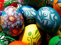Easter eggs beautifully decorated painted Stock Photography