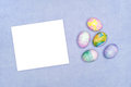 Easter eggs with blank card Stock Photography