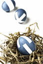 Easter eggs blue painted in a bowl Royalty Free Stock Photo