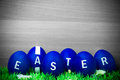 Easter eggs blue painted in a bowl Royalty Free Stock Photography