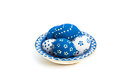 Easter eggs on a blue plate Stock Image