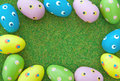 Easter eggs border grass lawn Royalty Free Stock Photography
