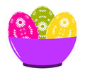 Easter eggs in bowl Stock Photos