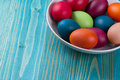 Easter eggs in bowl color Royalty Free Stock Image