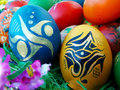 Easter eggs a bunch of beautiful painted Stock Images