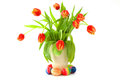 Easter eggs and bunch of tulips. Royalty Free Stock Images