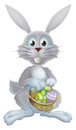 Easter eggs bunny an illustration of a white rabbit holding a basket of decorated painted chocolate Stock Image