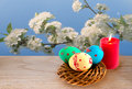 Easter eggs and burning candle standing in front of cherry blossoms Royalty Free Stock Photo