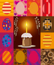 Easter eggs and cake image of rectangles with with ornament with the willow in the center Stock Photo