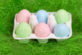 Easter eggs in cardboard pastel colored Royalty Free Stock Images
