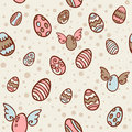 Easter eggs cartoon seamless texture Stock Photo