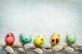 Easter eggs and catkins retro blue background Royalty Free Stock Photo